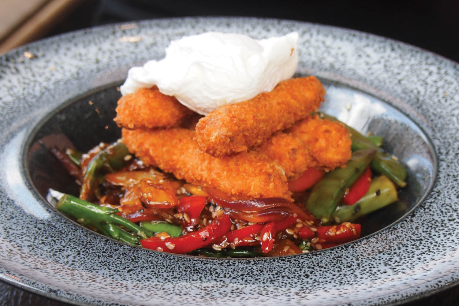 Breaded halloumi and poached egg at The Ladyburn Paisley